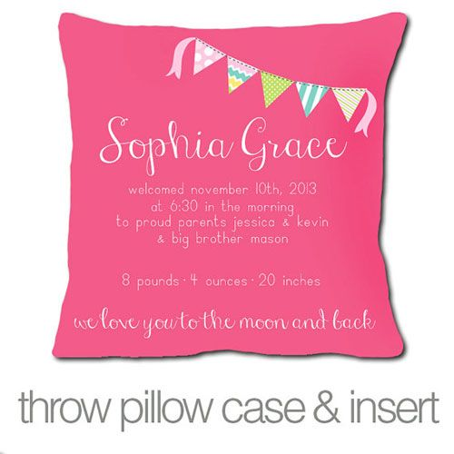 Personalized Birth Announcement Pillow in Pink