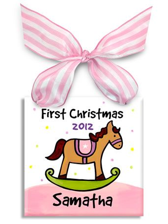 Children's Holiday Ornament at My Retro Baby! Baby's 1st Christmas plate by Little Worm and Co.