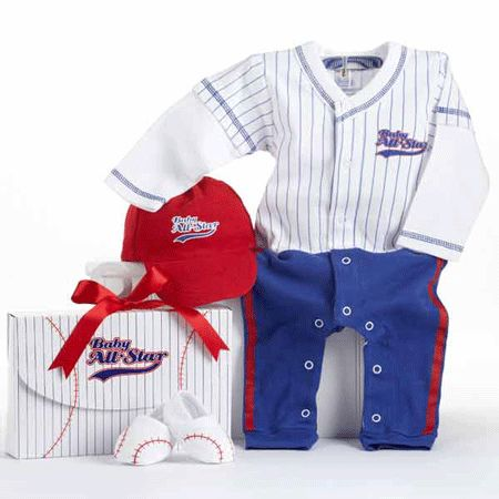Super cute baseball baby layette gift set in all star gift box. Newborn and themed baby gifts at My Retro Baby - coolest baby stuff on the planet! Check us out today for unique baby gifts!