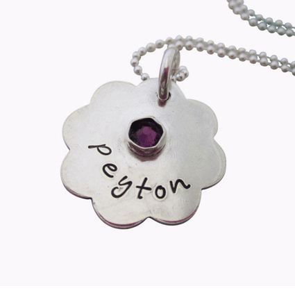 """Flora Birthstone Mom's Necklace is customized with kids names and birthstones. A unique design with the birthstone crystal attached to the beautiful silver Flora 3/4"""" name charm. Personalized Mom Jewelry makes a lasting and treasured gift! Visit us today!"""