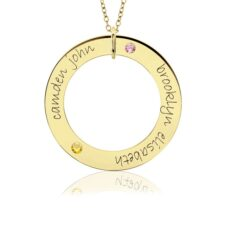 Gold Posh Birthstone Loop Mom Necklace