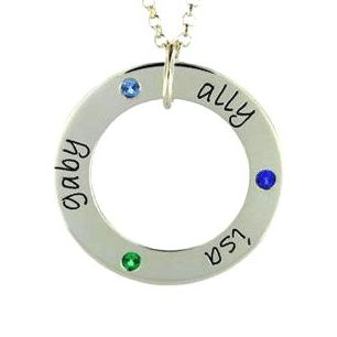 Three Name Wee Birthstone Loop Necklace