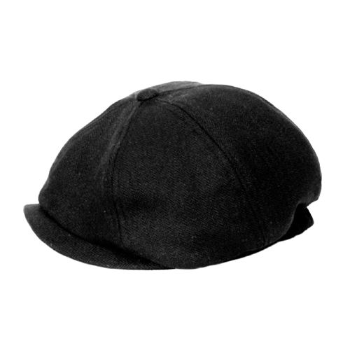 herringbone newsboy black cap