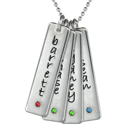Four Tall Tag Birthstone Necklace