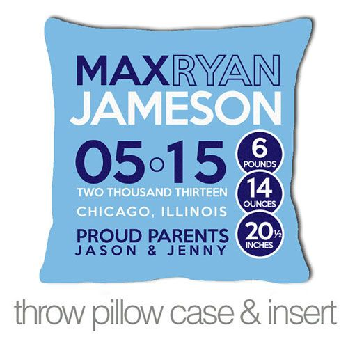 Blue Birth Announcement Pillow