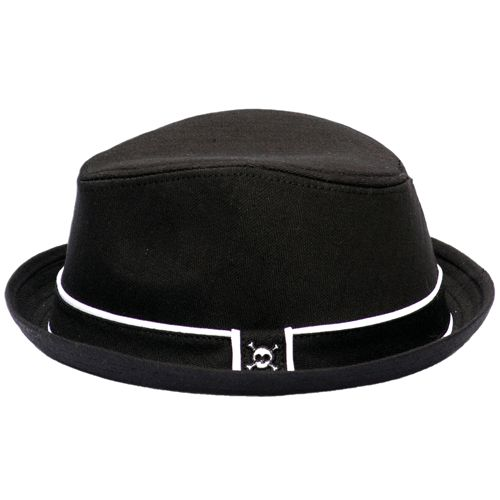 Black fedora hat for baby with skull