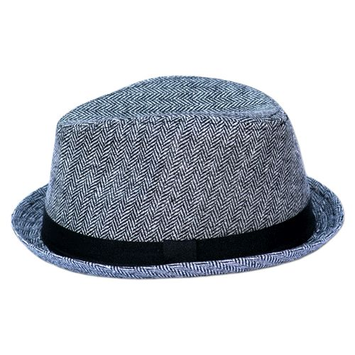 Gray Herringbone Fedora for Babies with black band