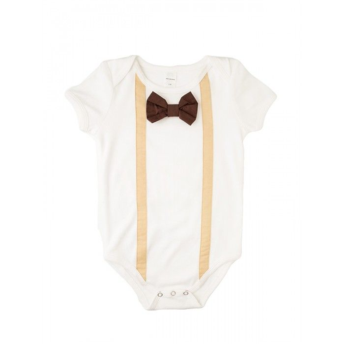baby onesie with black bow tie and suspenders