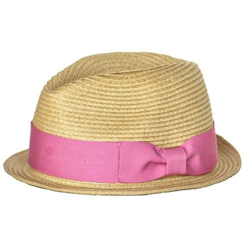 baby fedora hat with pink band