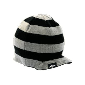 black/gray horizontal striped visor beanie
