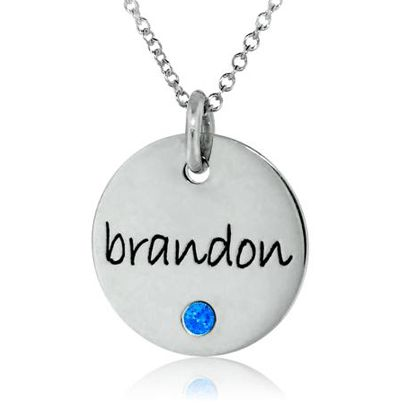 One Disc Birthstone Necklace
