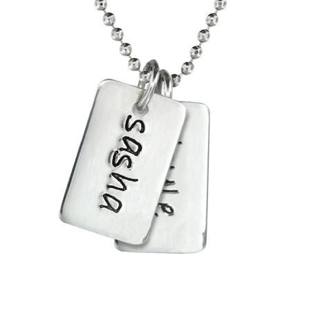 Two Mini Dog Tag Necklace