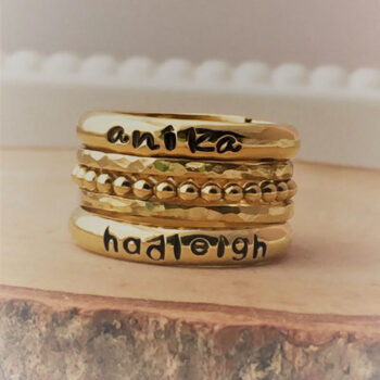 Gold Stackable Personalized Name Rings